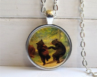 Dancing Bear Pendant Woodland Bear Necklace