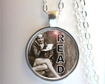Read Necklace, Book Lovers Pendant, Read Pendant, Book Jewelry