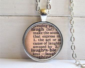 Laugh Pendant, Vintage Dictionary Definition, Laugh Necklace, Word Jewelry