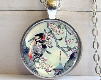 Art Pendant, Japanese Art Bird Pendant, Vintage Japanese Art, Bird Necklace