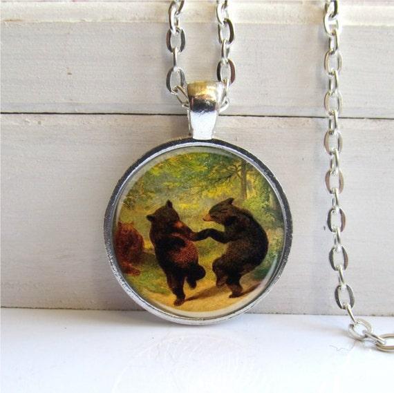Dancing Bear Pendant Woodland Bear Necklace