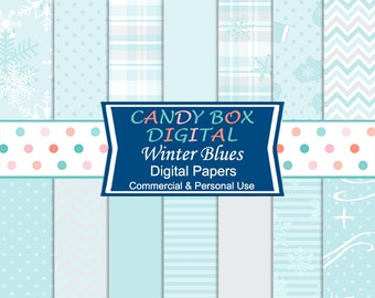 Winter Blues Digital Paper, Snowflake Paper - Commercial Use OK