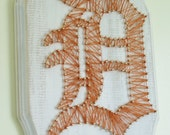 Detroit Tigers Decor, Sports Decor, Nail and String Art, Burnt Orange, Distressed, Baseball Decor