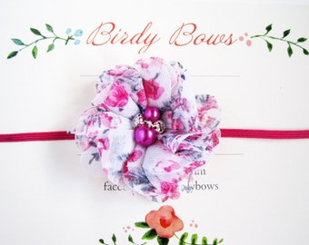 Fuchsia Floral Baby Headband, Baby Headbands, Newborn Headbands, Baby Girl Headbands, Infant Headbands, Baby Bows