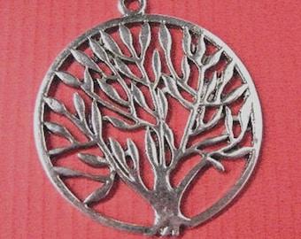 4pc antique silver round tree pendant-5235x2