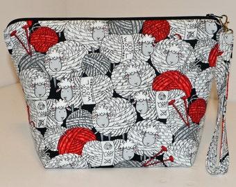 Knit sheep and balls of yarn project bag