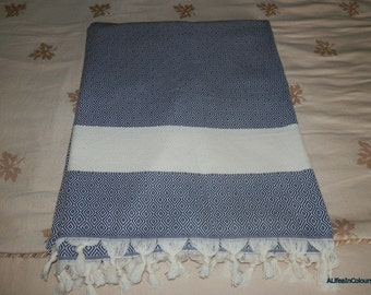 Navy blue diamond patterned Turkish soft cotton blanket, bed cover, throw.