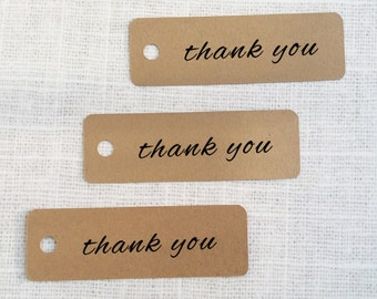Thank You Die-cut Kraft Paper Hang Tags, Custom Gift Tags - Set of 25 - wedding invitation decoration - wedding favor tags