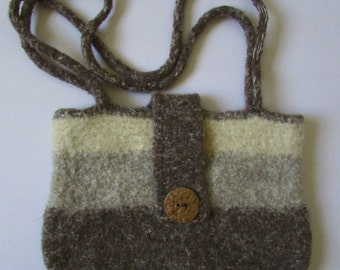 Wool Felted Shoulder Purse in Tans and Cream