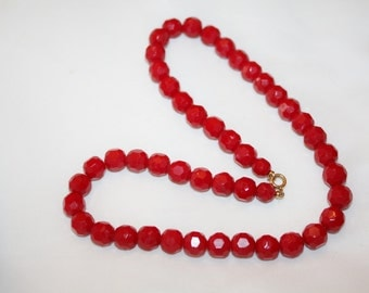Vintage Necklace Red Glass Bead 1940s Jewelry