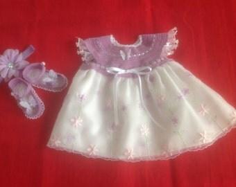 Handmade Crochet Newborn Baby Girl Dress Set - Violet & White