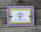 4x6 Picture Frame - Distressed Wood - Holds a 4x6 Photo - Single Mat - Lavender and Lime Green