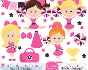 INSTANT DOWNLOAD,  Pink Cheerleader Clipart and Vectors for personal and commercial use