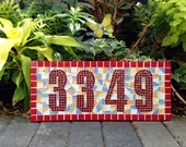 Colorful Mosaic Address Sign / Outdoor House Number Sign
