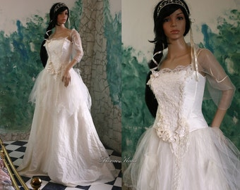 Fairytale Rococo Inspired Alternative Wedding Gown - Helka-White