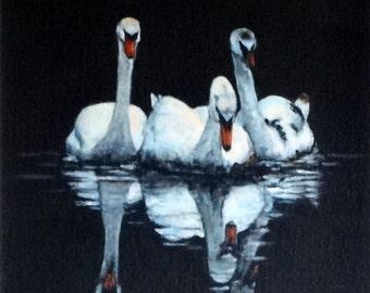 "Fine Art 8"" X 8"" Print of my Original Acrylic Painting ""Reflecting Swans"""