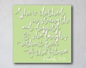 She is Clothed with Strength | Proverbs 31 | Baby Girl Nursery | Canvas Art Decor | Typography Scripture Print | Inspirational Scripture