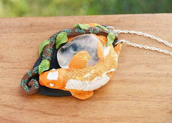 Koi fish necklace handmade polymer clay ooak by for Clay koi fish