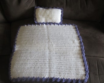 White with Purple edging Crocheted Baby Doll Blanket/Quilt and Pillow Set