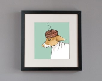 Dog Fashion illustration ink and watercolor glicee print