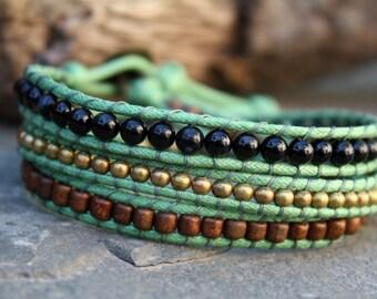 Triple Wrap, Beaded Wrap Bracelet, Vegan Beaded Wrap, Black Agate, Brass, Green Gold Jewelry, Green Black Jewelry, Green Beaded Wrap, Vegan