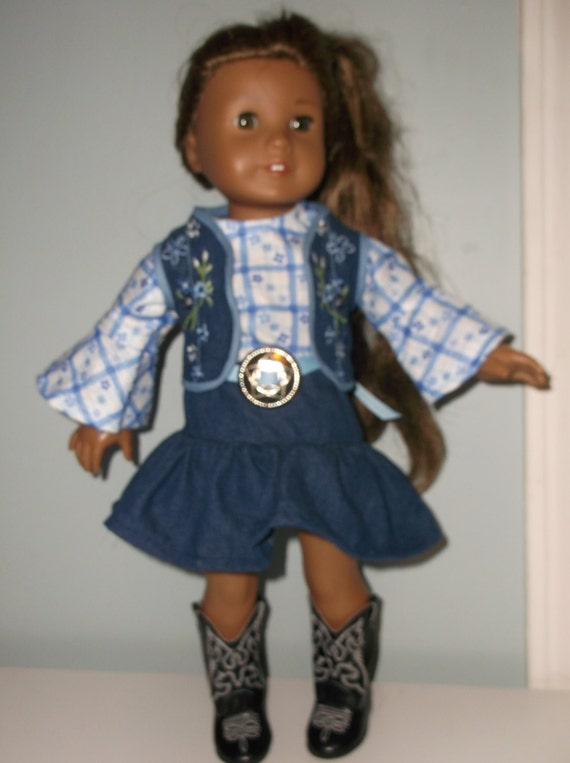 18 Inch American Girl Doll or Maplelea Girls 4 piece Cowgirl outfitNative American Dress by Project Funway on Etsy