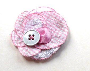 Chic pink flower -  pink cotton fabric, silk, button and glitter, bobby pin, brooch, spring, upcycling, summer