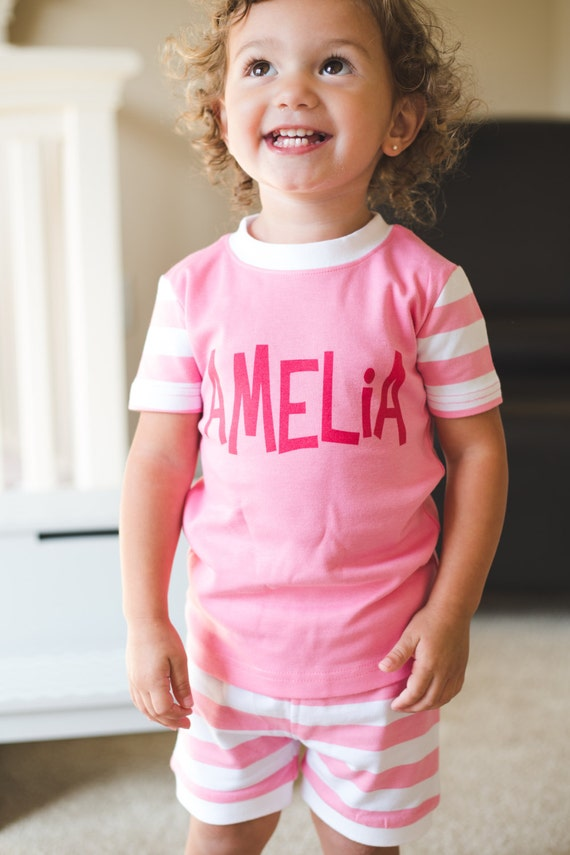 SIZE 4 Personalized Custom Made Printed Name  Pink and White Stripe Summer Short Pajamas PJs SIZE 4