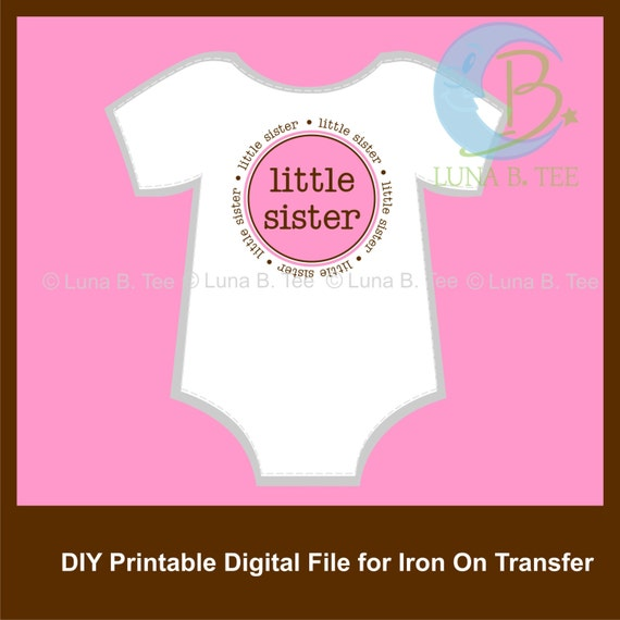 INSTANT DOWNLOAD Little Sister Pink Brown Printable DIY Iron On to Tee T-Shirt Transfer - Digital File
