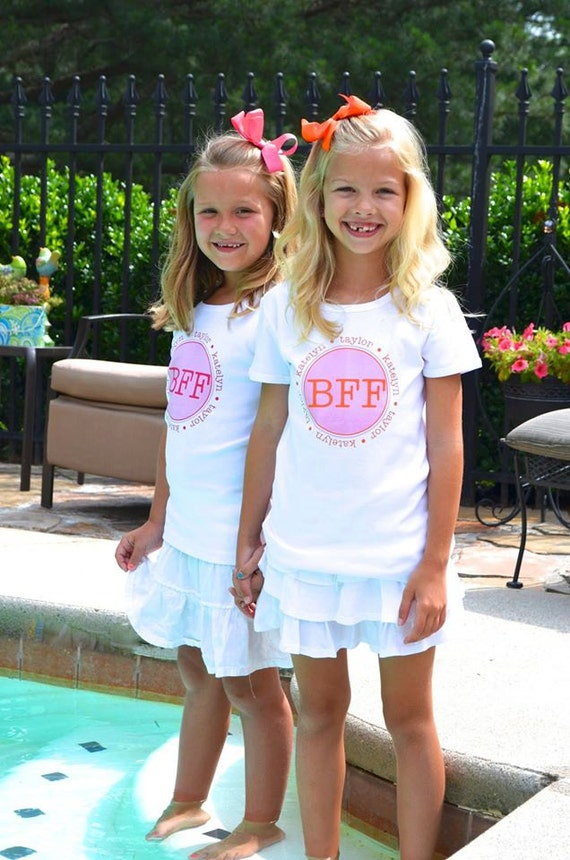 BFF Best Friend Forever  Tshirt Name Personalized Kids Childrens T Shirt Girls Boys Tee Baby Onesie High Quality Shirt