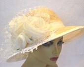 Ivory Derby Hat / Wedding Hat / Church Hat /