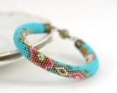 Caprice - Beaded Bracelet -  Bead Crochet Bracelet Turquoise Bronze Light Pink White Beadwork Handmade Jewelry