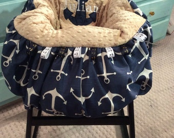 Navy Anchor Shopping cart Cover and Highchair Cover