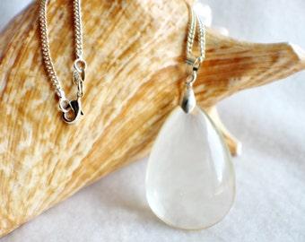 Teardrop pendant, light citrine quartz teardrop pendant.