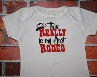 Bodysuit with This REALLY is my first RODEO machine embroidery design