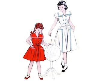 1950s Girls Dress Pattern Butterick 5966, Sailor Collar, Double Breasted, Full Skirt, Big Pockets, Vintage Sewing Pattern Size 4 Uncut