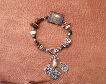 Boho Gypsy Woven Bracelet Agate with Charms - Antiqued Agate beads - Coin Charms - Tibetian Agate - Charm Bracelet - feather charm