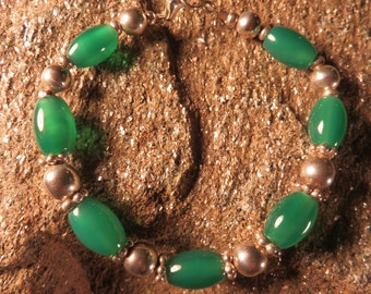 green agate and silver bracelet