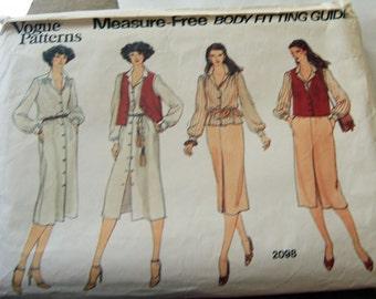 Vogue 2098 uncut Size 18, Classic Shirtwaist dress 4 pieces, vest, blouse, shirt and dress.