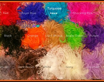 """Bow Supplies, Feathers, Bow Making, Printed Ribbon 5-7"""" Curly Ostrich Feather Puffs 3 Pieces 3(pc) Hair/Supplies/Puff/Feather YOU CHOOSE!"""