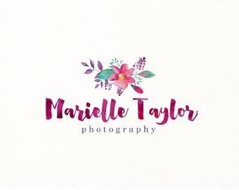 watercolor logo flowers floral premade logo - Logo Design #312