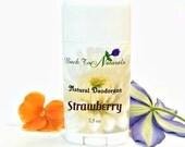 Strawberry Deodorant Natural- Organic Deodorant Stick with Tea Tree Oil and Organic Coconut Oil - Homemade Deodorant Tube