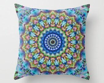 Soothing Blue Mandala Decorative Throw Pillow, Art Throw Pillow, Pillow Covers, Photo Pillow, Photography, Digital Art