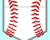 Baseball Pocket shape Applique Embroidery Design 4 sizes for hoops  4x4 or larger INSTANT Download