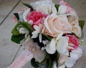 SALE, Silk bridal bouquet, nosegay, pink, white roses, plumeria SALE!!!!!