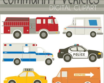Emergency Vehicles Clipart Set -Personal and Limited Commercial- Police Car, Ambulance, Taxi, Fire Truck Clip Art