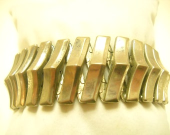 Vintage Silver Tone Stretch Bracelet (629)