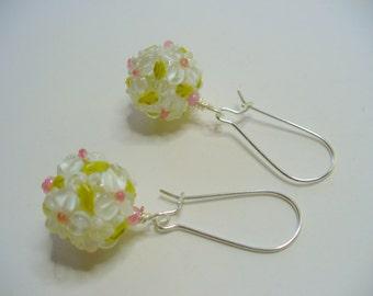 Fancy Flower Lampwork Dangle Earrings, White Flower Earrings, Silver, Long Dangle Earrings, Lampwork Art, White, Pink, Olive Green