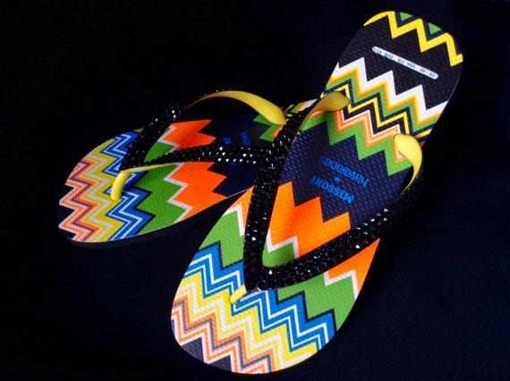 RARE 2011 Collector MISSONI Wave Zig Zag Havaianas US 7-10 Custom Swarovski Crystal Flip Flops Jet Black Women Thong Shoes