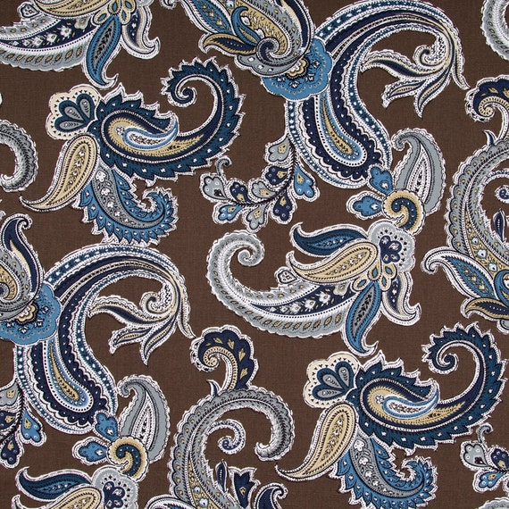 Navy Blue Paisley Fabric Printed Cotton By Popdecorfabrics